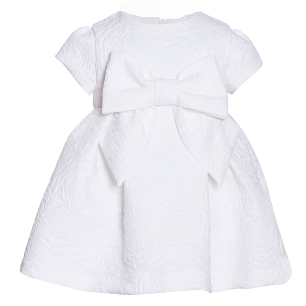 Patachou Ivory Jacquard Bow Dress