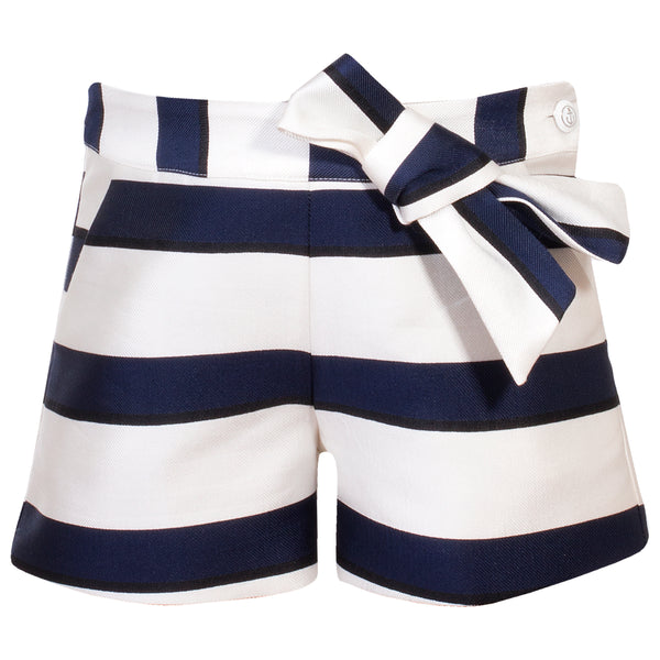 Patachou Girls Navy and Ivory Striped Shorts