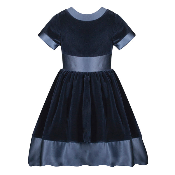 Patachou Girls Navy Blue Velvet Dress