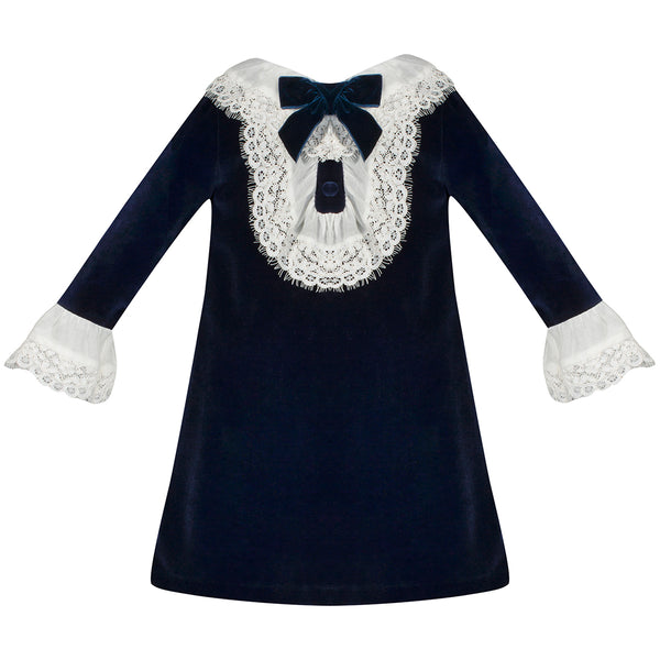 Patachou Girls Navy Velvet & Lace Dress
