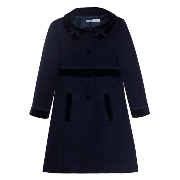 Patachou Girls Navy Blue Coat with Velvet