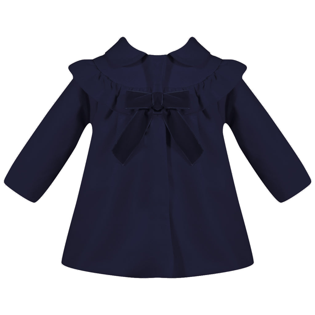 Patachou Girls Navy Blue Ruffle Coat