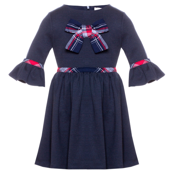 Patachou Girls Navy And Tartan Dress