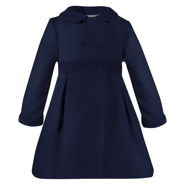 Patachou Girls Blue Velvet Trim Coat