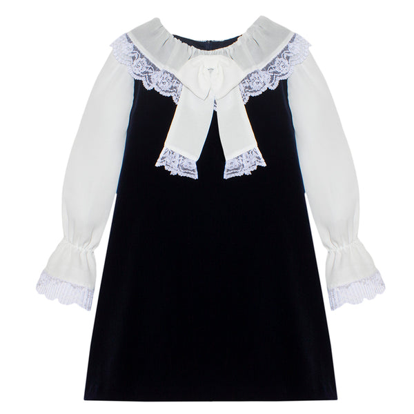 Patachou Girls Navy Blue Velvet & Lace Dress