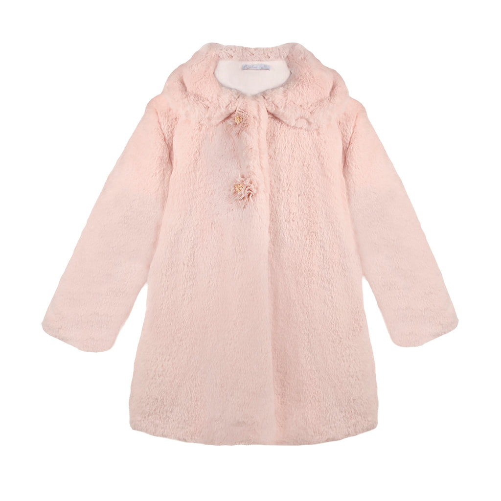 Patachou Girls Faux Fur Pink Coat