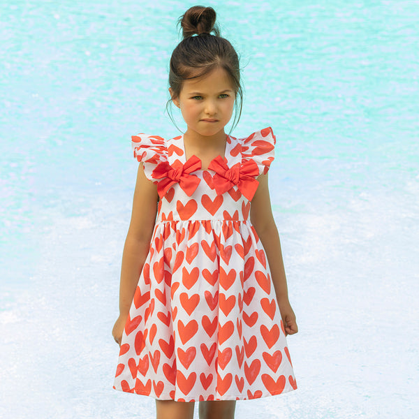 Patachou Girls Red Hearts Cotton Sundress