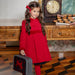 Patachou Girls Red Velvet Trim Coat
