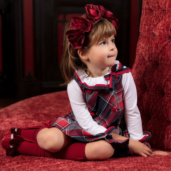 Patachou Girls Tartan Pinafore Dress & Blouse Set Lucas & Luna