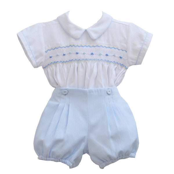 Pretty Originals Baby Boys White & Blue Smocked Shorts Set