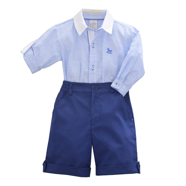 Pretty Originals Baby Boys Navy Stripe Shirt & Shorts Set