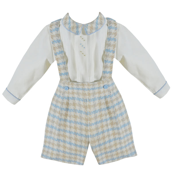 Pretty Originals Baby Boys Blue & Cream Herringbone Shorts Set