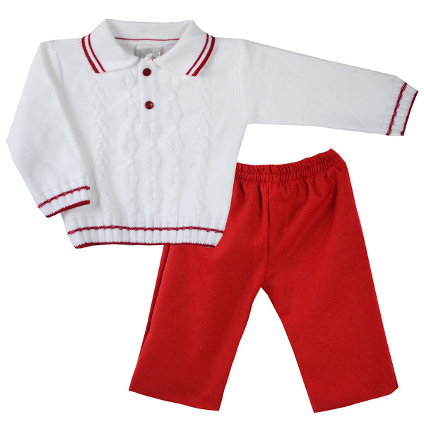 Pretty Originals Baby Boys Red Trouser Set