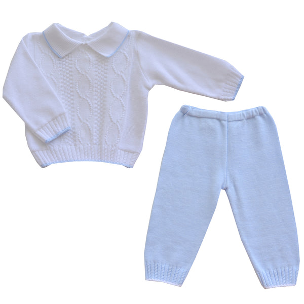 Pretty Originals Baby Boys White & Blue Trouser Set