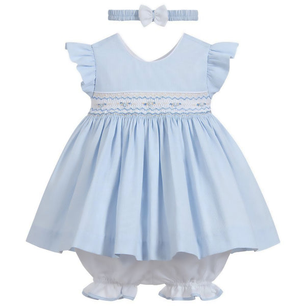 Pretty Originals Baby Girls Blue Smocked Dress Set