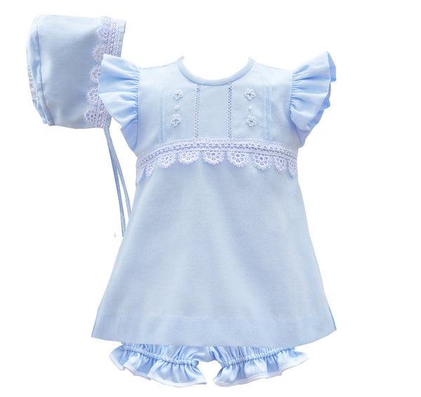 Pretty Originals Baby Girls Blue Three Piece Dress Set