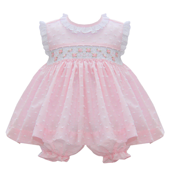 Pretty Originals Baby Girls Pink Smocked Dress Set