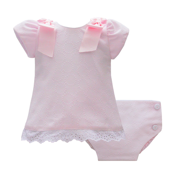 Pretty Originals Baby Girls Pink Dress Set