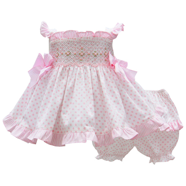 Pretty Originals Baby Girls Pink Polka Dot Dress Set