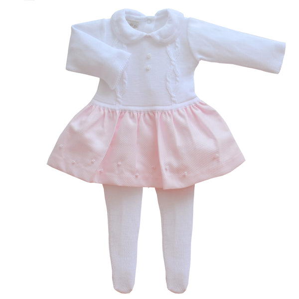 Pretty Originals Baby Girls White & Pink Dress & Tights Set