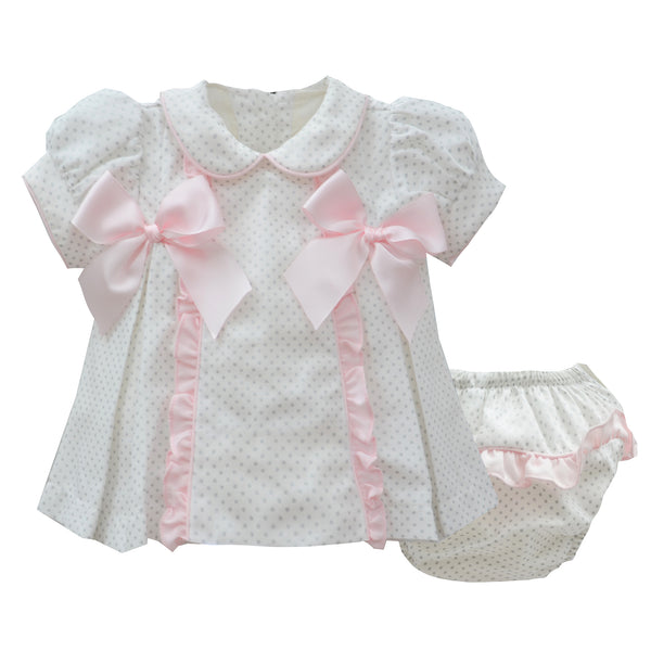 Pretty Originals Baby Girls Cream & Pink Dress Set