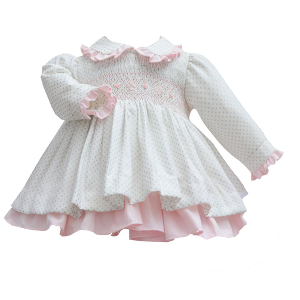 Pretty Originals Baby Girls Cream & Pink Dress & Bloomers Set