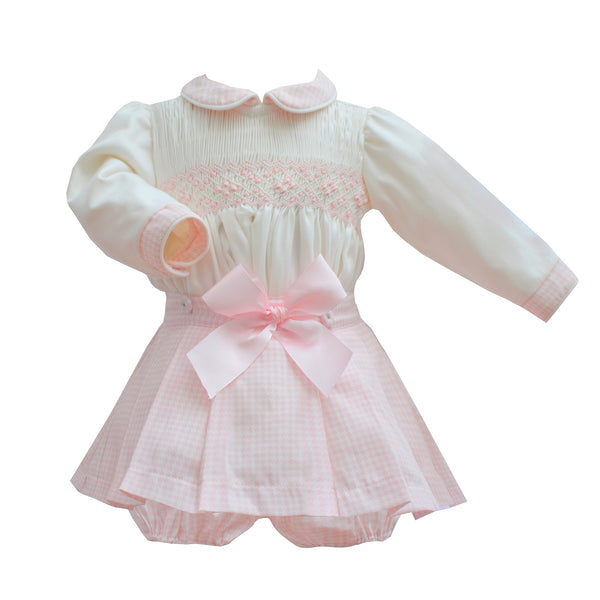 Pretty Originals Baby Girls Cream & Pink Four Piece Skirt Set