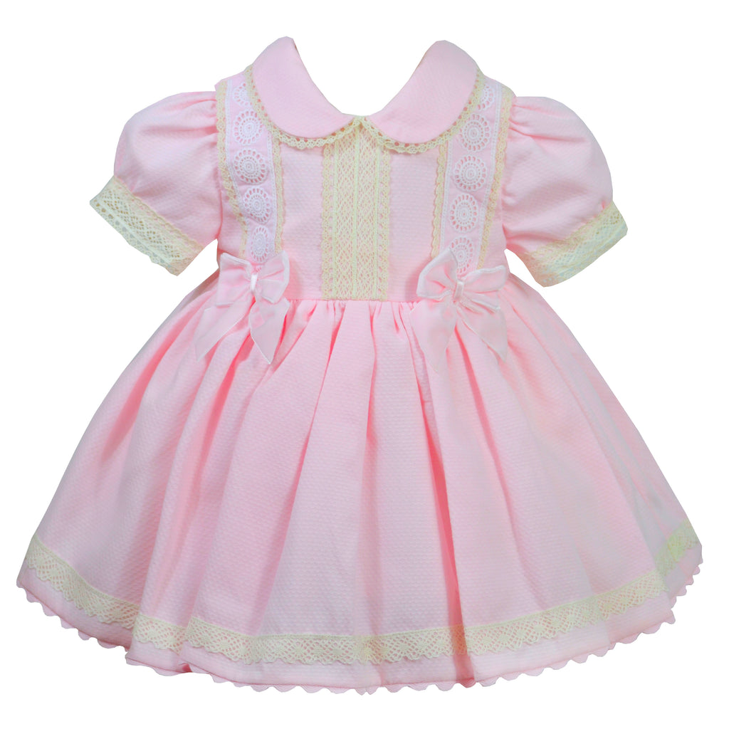 Pretty Originals Baby Girls Pink Bow Dress & Knicker Set