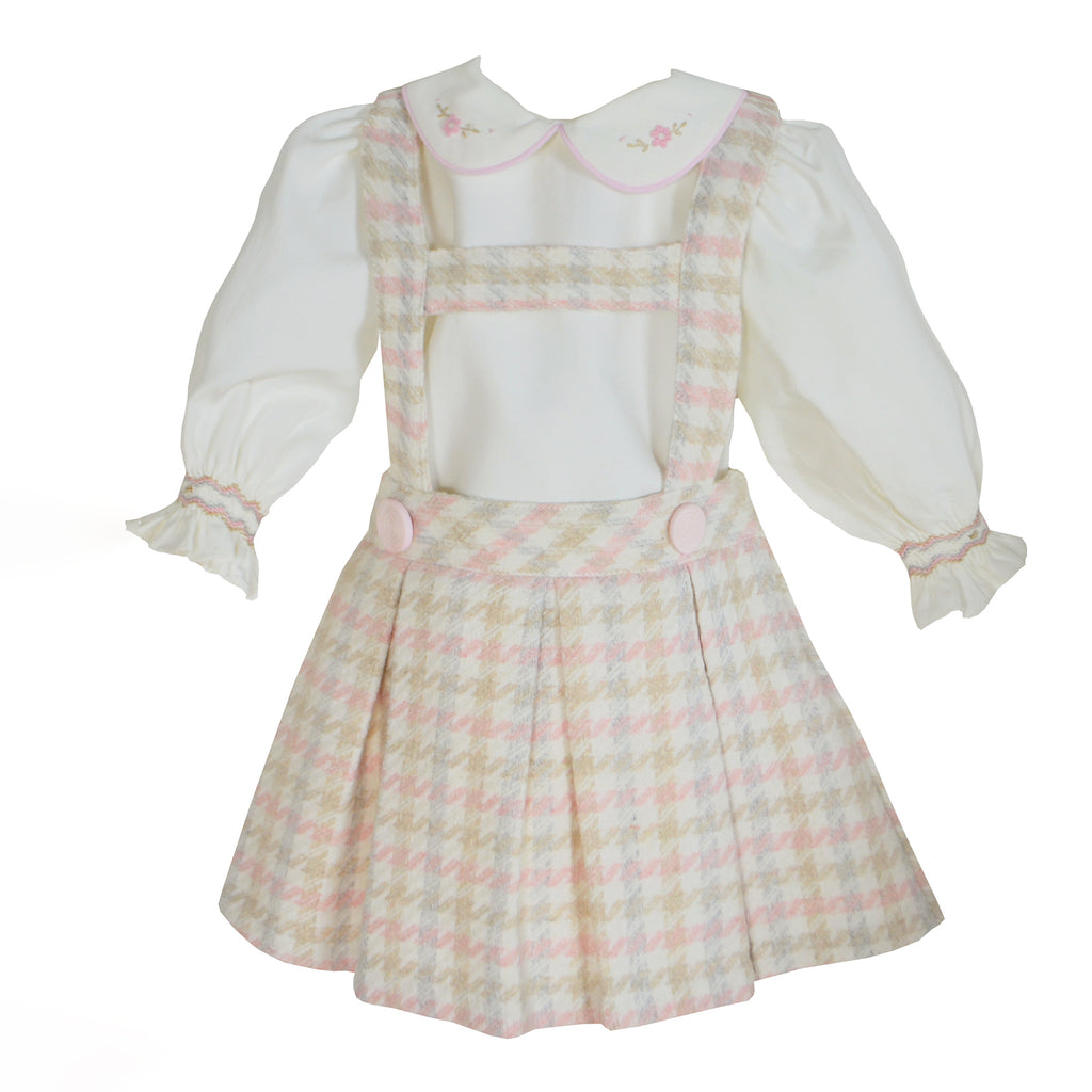 Pretty Originals Baby Girls Pink & Cream Herringbone Pinafore Skirt Set