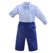 Pretty Originals Boys Navy Stripe Shirt & Shorts Set
