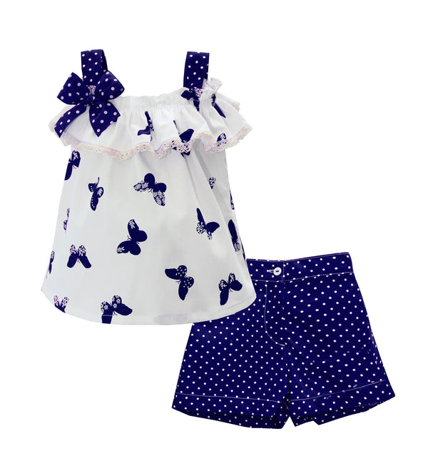 Pretty Originals Girls Navy & Ivory Top & Shorts Set