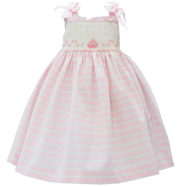 Pretty Originals Girls Pink and Cream Smocked Dress Set