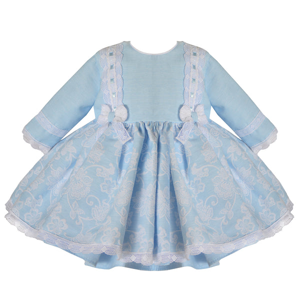 Pretty Originals Girls Blue Bow Dress