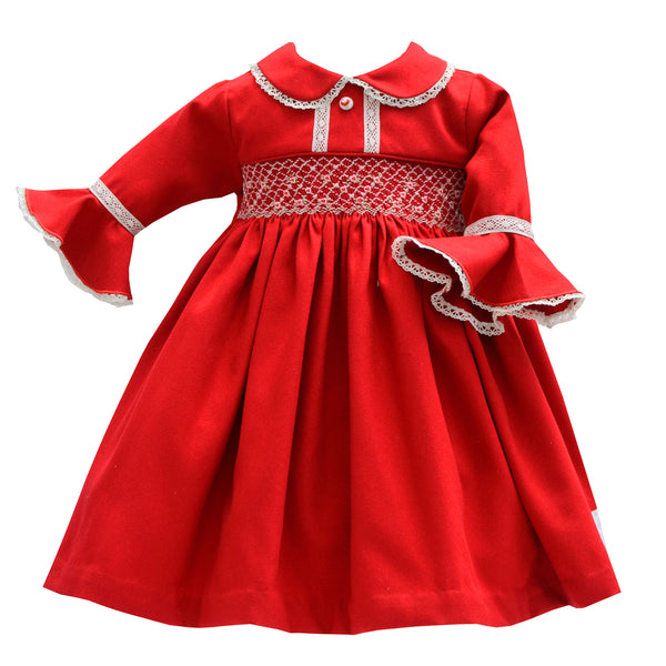 Pretty Originals Girls Red Smocked Dress