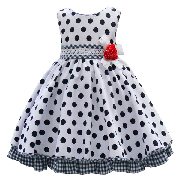 Pretty Originals White & Navy Polka Dot Dress