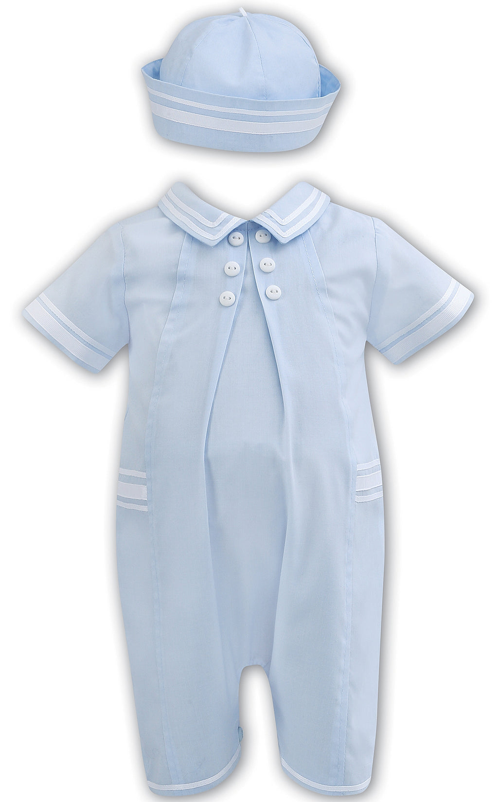 Sarah Louise Baby Blue Romper and Hat Set