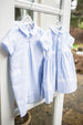 Sarah Louise Baby Blue Sibling Set Dress and Romper