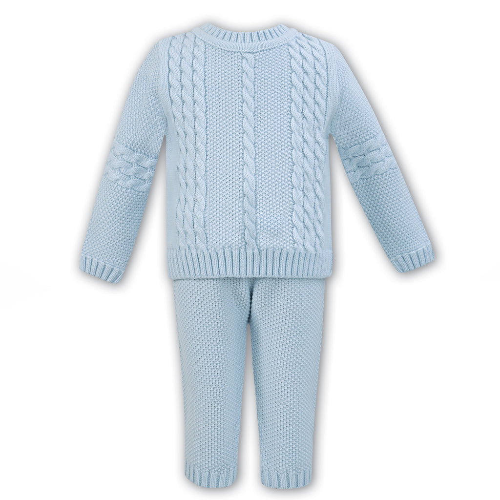 Sarah Louise Baby Boys Blue Knitted Trouser Set