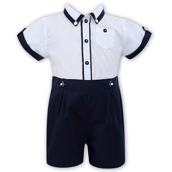 Sarah Louise Boys Navy & White Outfit Set