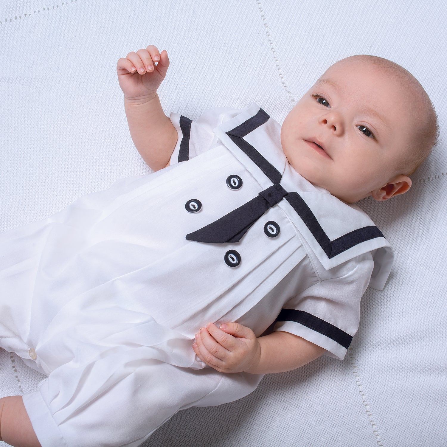HAT BABY PLAYSUIT OUTFIT SETS BABY BOYS SAILOR WHITE NAVY SHORT SLEEVE ROMPER