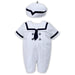 Sarah Louise Baby Boys White & Navy Romper & Hat Set