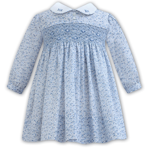 Sarah Louise Baby Girls Blue Floral Hand-Smocked Dress