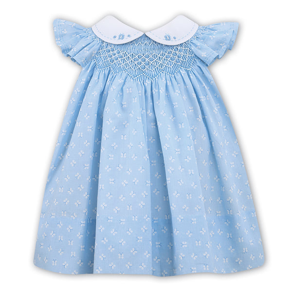 Sarah Louise Baby Girls Blue Hand Smocked Dress