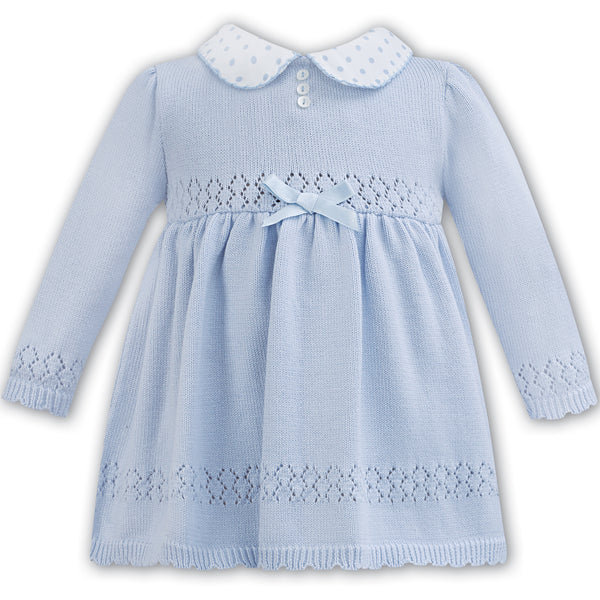Sarah Louise Baby Girls Blue Knitted Dress