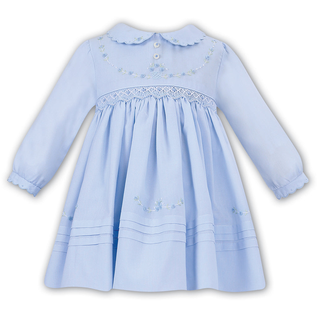 Sarah Louise Baby Girls Blue Smocked Dress