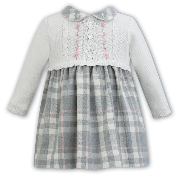 Sarah Louise Baby Girls Grey Check Knitted Dress
