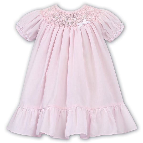 Sarah Louise Baby Girls Pink Hand-Smocked Long Sleeve Dress