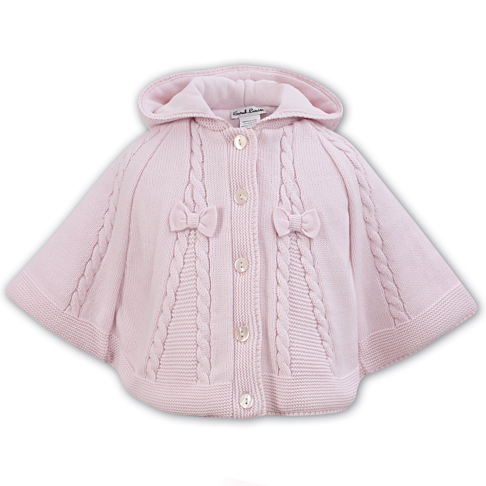 b5784c6210a44 Sarah Louise Baby Girls Pink Knitted Cape