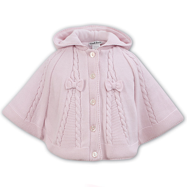 Sarah Louise Baby Girls Pink Knitted Cape