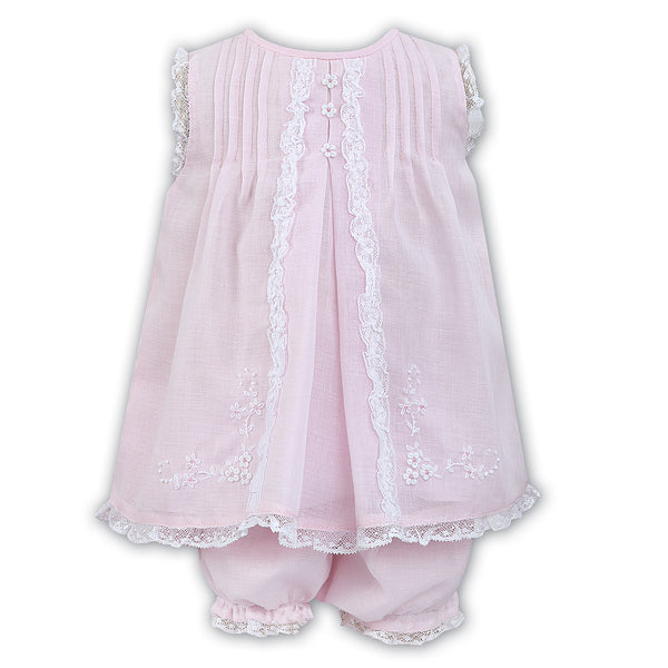 Sarah Louise Baby Girls Pink Voile Dress & Panty Set